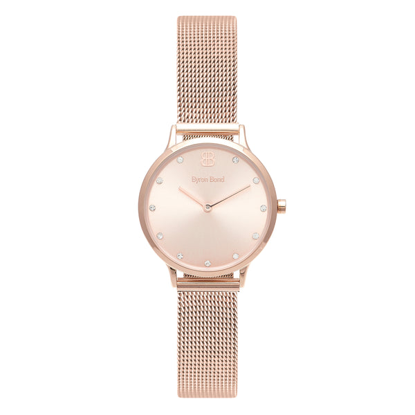 Women's Small Rose Gold Watch Rose Gold Dial with Crystals Mesh Strap - Mark 5 - Clapham - 32mm