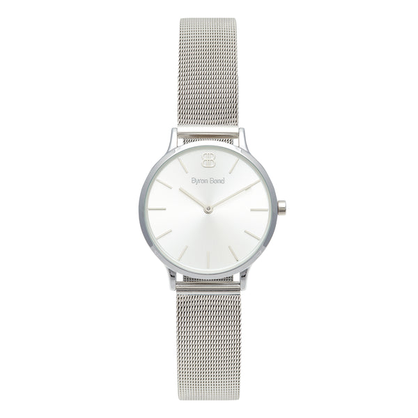 Women's Small Silver Watch Silver Dial Mesh Strap - Mark 5 - Marylebone - 32mm