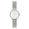 Women's Small Silver Watch White Dial with Crystals Mesh Strap - Mark 5 - Waterloo - 32mm
