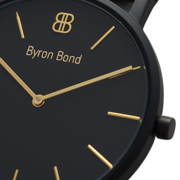 Slim Minimalist Black & Gold Watch Men's & Women's Mesh Strap -Mark 1 - Piccadilly - 38mm