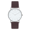 Slim Minimalist Silver Watch Men's & Women's Brown Leather Strap - Mark 1 - Richmond - 38mm