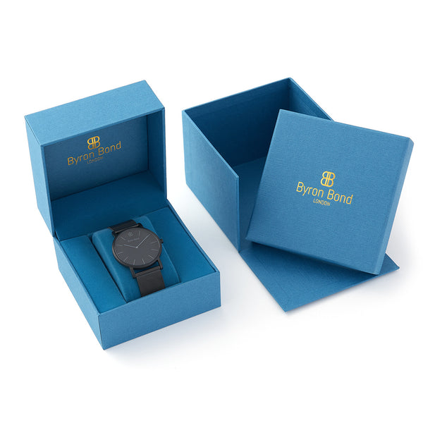 Slim Minimalist All Black Watch Men's & Women's Black Mesh Strap - Mark 1 - Shoreditch - 38mm