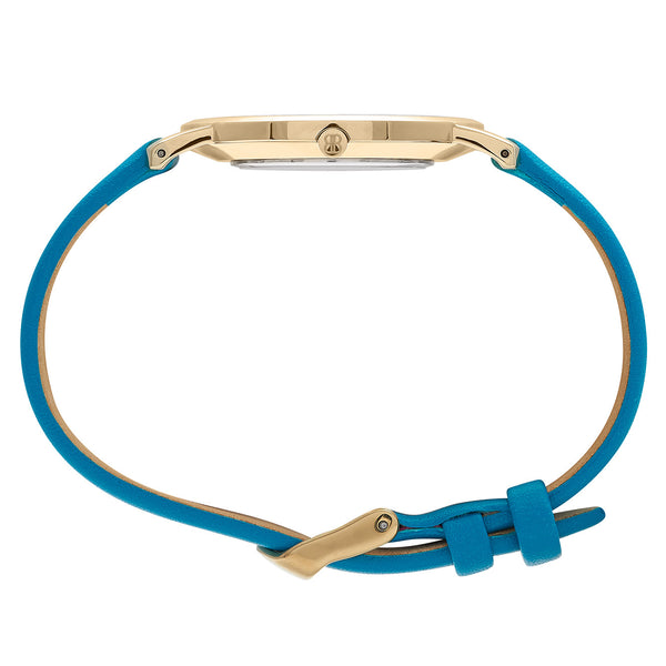 Slim Minimalist Gold Watch Men's & Women's Blue Leather Strap - Mark 1 - Warwick - 38mm