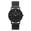 Slim Minimalist Black & Silver Watch Men's & Women's Black Mesh Strap - Mark 1 - Strand - 38mm