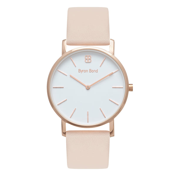 Slim Minimalist Rose Gold Watch Men's & Women's Pink Leather Strap - Mark 1 - Victoria - 38mm