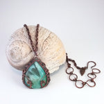 """Brigid"" - Reversible Pendant Necklace in Peruvian Blue Opal and Copper"