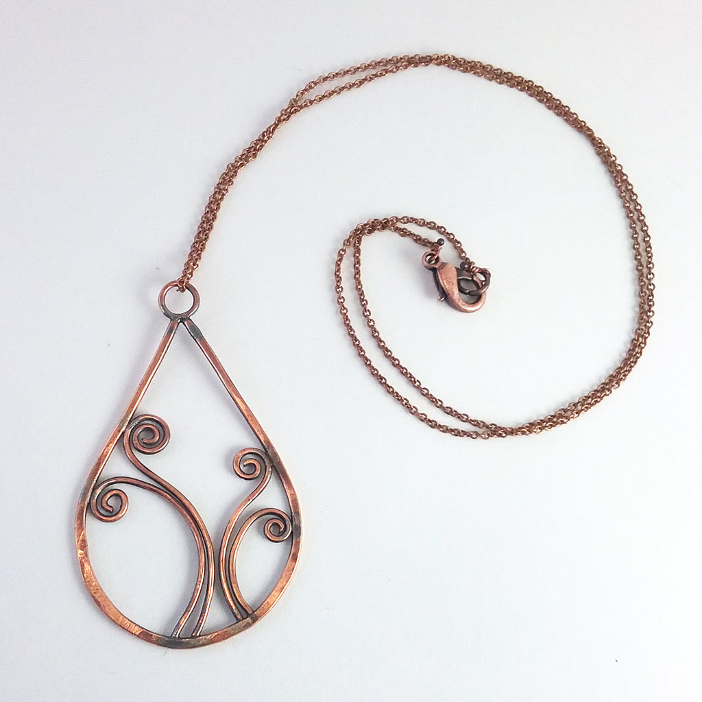 """Sorcha"" large pendant necklace in Copper"