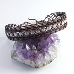 Moonstone and copper woven wire lace bracelet