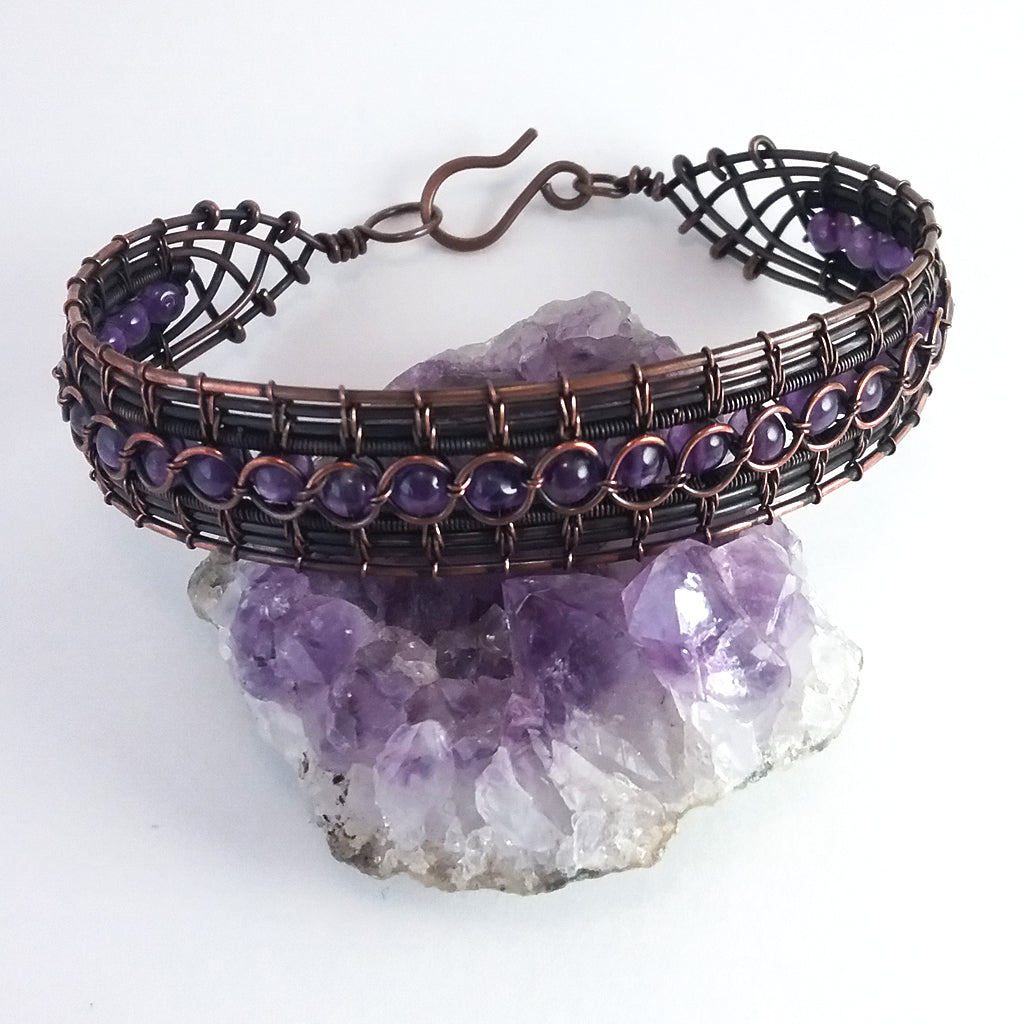 Amethyst and copper woven wire lace bracelet