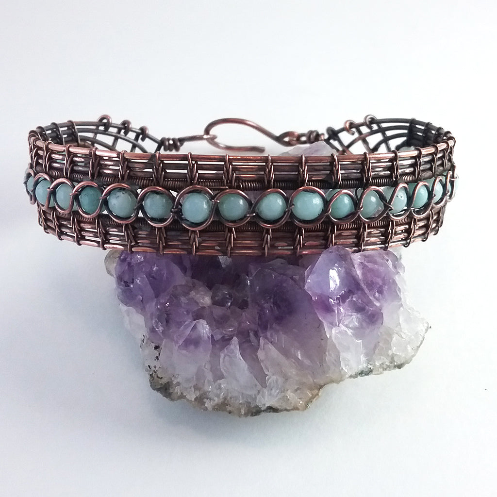 Amazonite and copper woven wire lace bracelet
