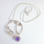 'Freya' Large Pendant necklace in Sterling Silver and Amethyst