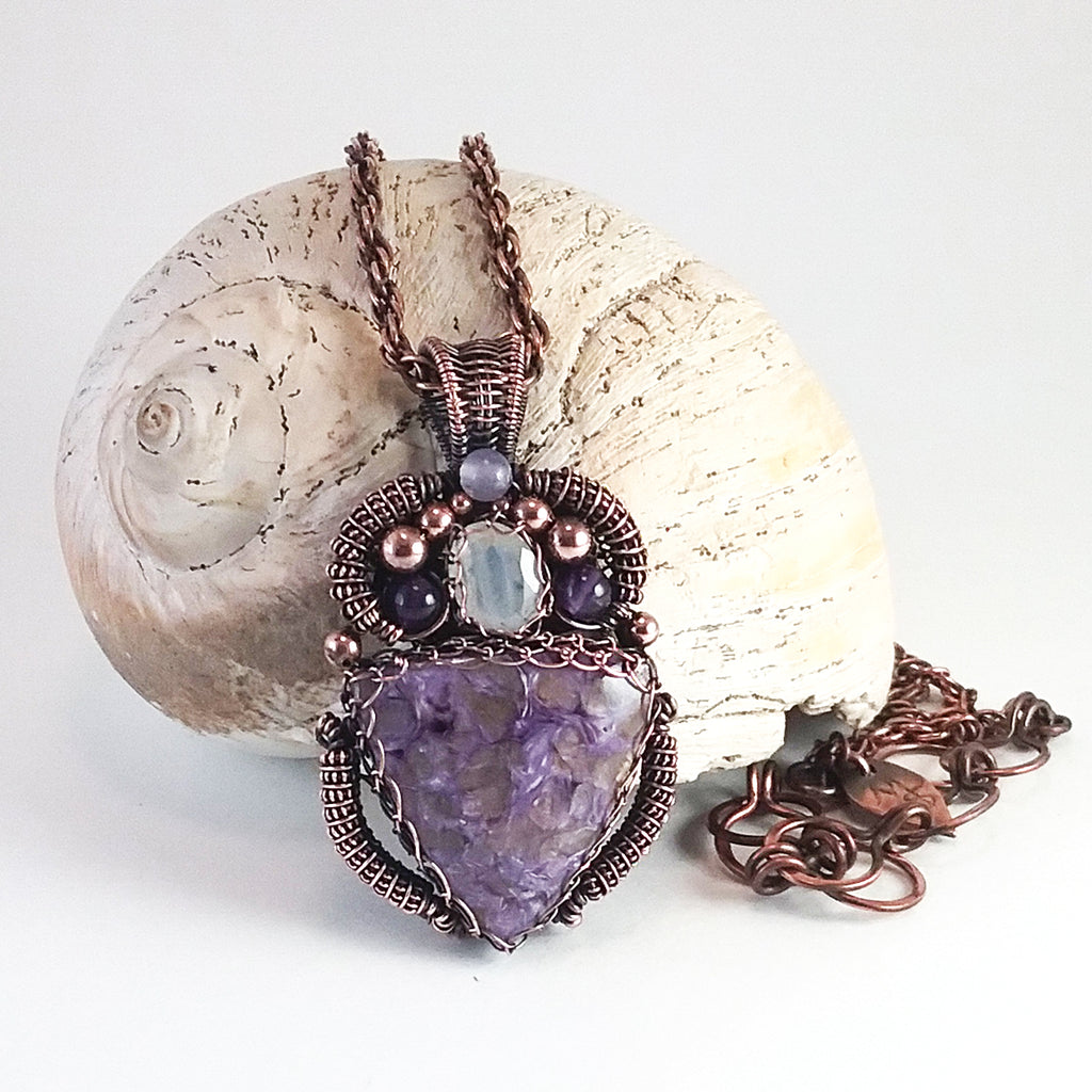 Charoite, Amethyst, and Rainbow moonstone Necklace