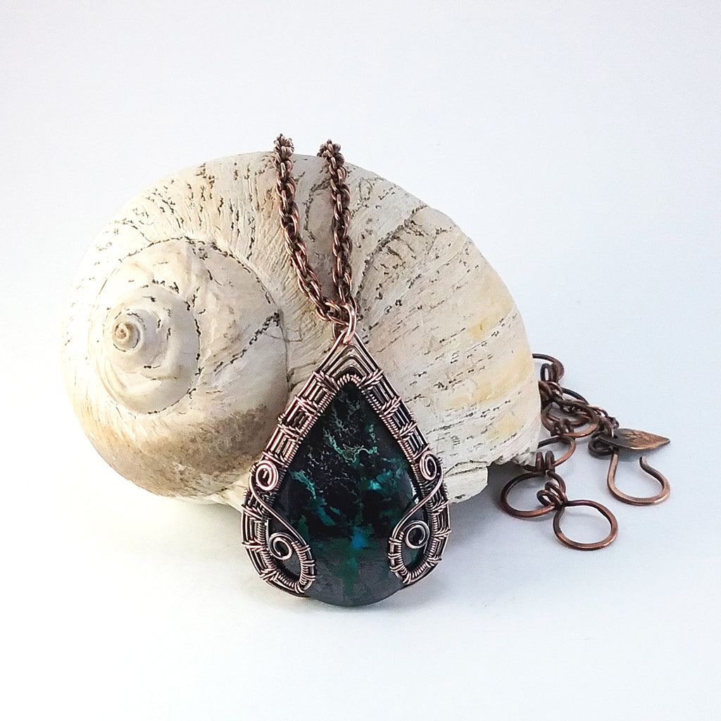 """Brigid"" - Reversible Pendant Necklace in Chrysocolla in Malachite and Copper"