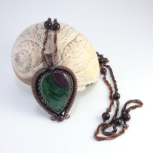 Ruby Zoisite and Garnets Long Necklace