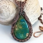 Peruvian Blue Opal in woven copper