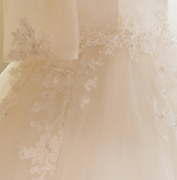 3/4 Sleeve Scoop Neck Tulle Lace Appliques Beaded Wedding Dress