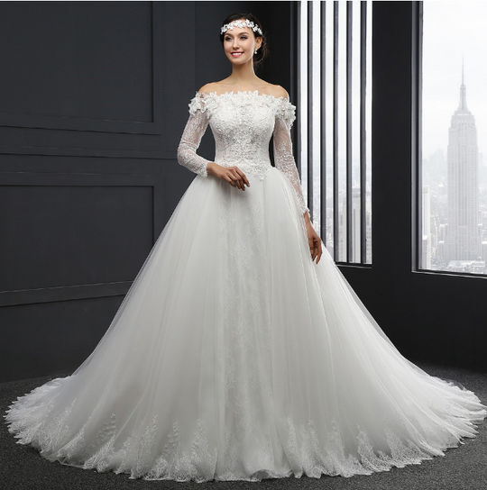 Boat Neck Long Sleeve Tulle Lace Backless Wedding Dresses