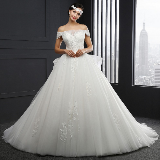 Boat Neck Lace Applique Wedding Dress