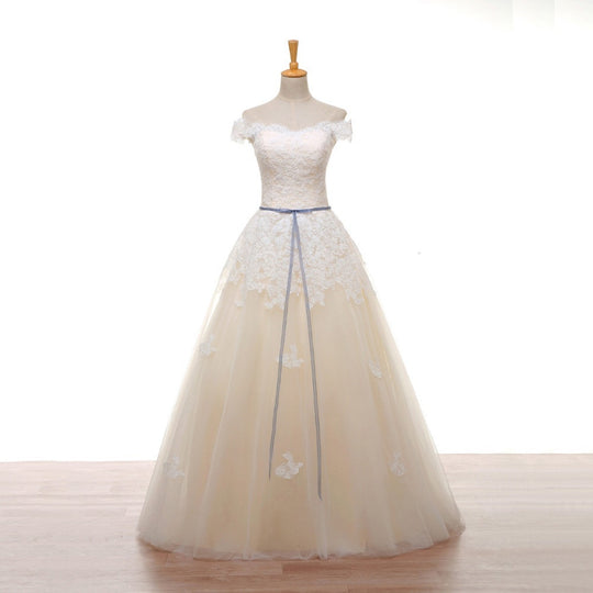 Boat Neck Champagne Wedding Dress