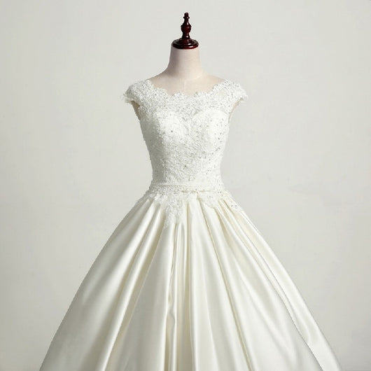 Cap Sleeve Lace Satin Wedding Dress