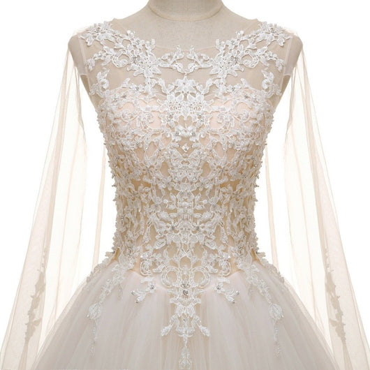 Crystal Pearls Lace Long Cape Wedding Dress