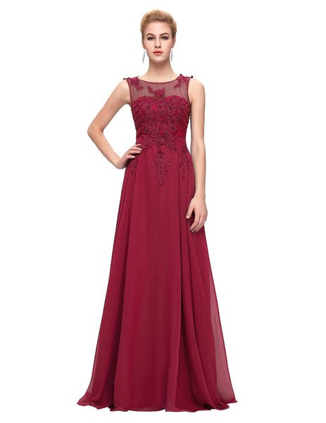 Long Ellegant Flower Applique Evening Dress