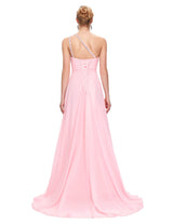 Long One Shoulder Chiffon Bridesmaid Party Dress
