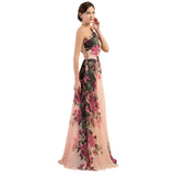 Long One Shoulder Sensual Floral Party Dress