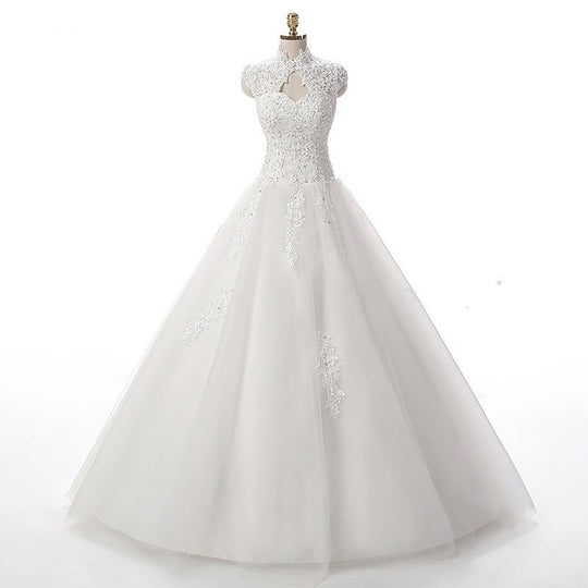 A-Line Cap Sleeve Beading Wedding Dress