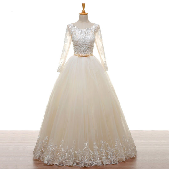 Long Sleeve Lace Tulle Backless Wedding Dress