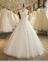 Sleeveless  A-Line Tulle Appliques Lace   Wedding Dress