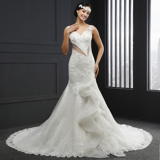 V-Neck Transparence Lace Backless Mermaid Wedding Dress