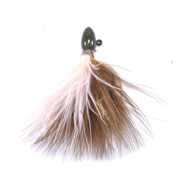 Tournament Quality Marabou Jig - Green Pumpkin / Peach (2)