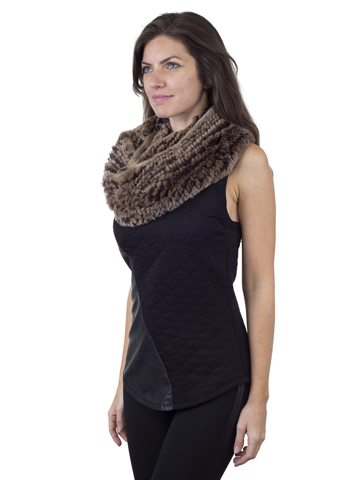 Brown Infinity Rex Rabbit Scarve