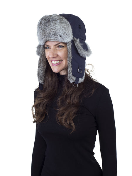 Blue Aviator Hat with Natural Grey Rabbit Fur