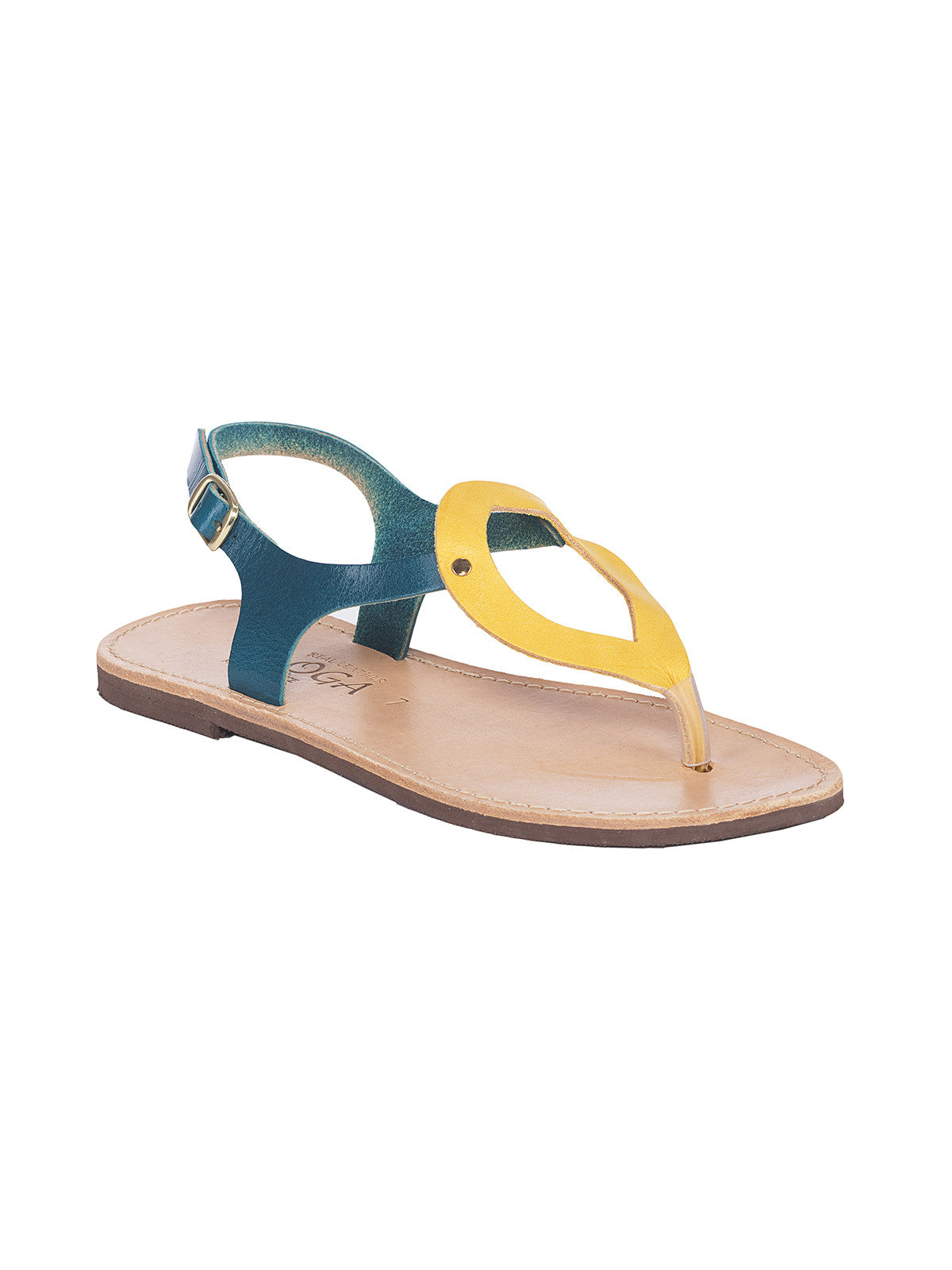 Ioanna Green/Yellow Greek Leather Sandals