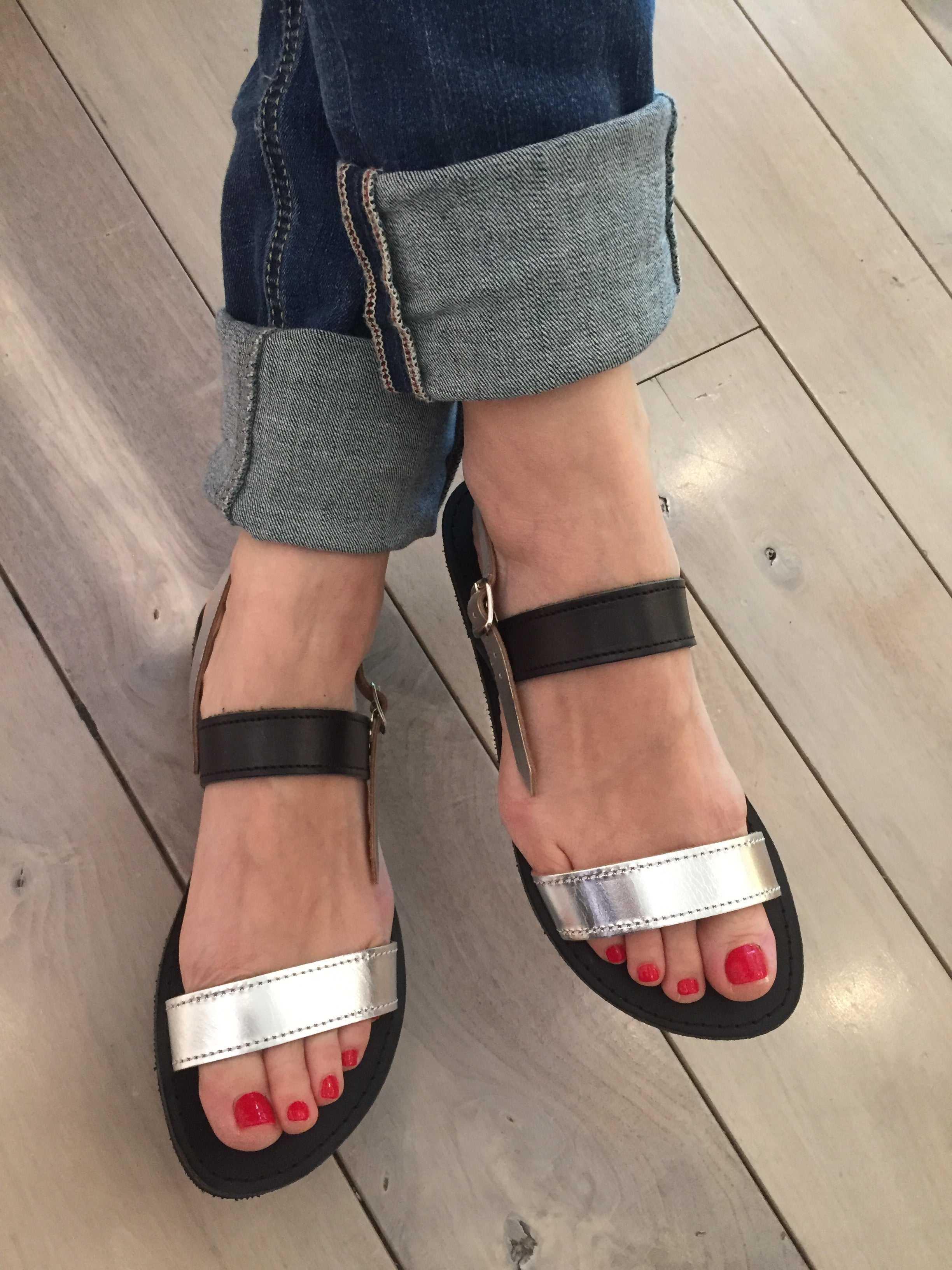 Elpida Greek Leather Sandals - Silver/Black
