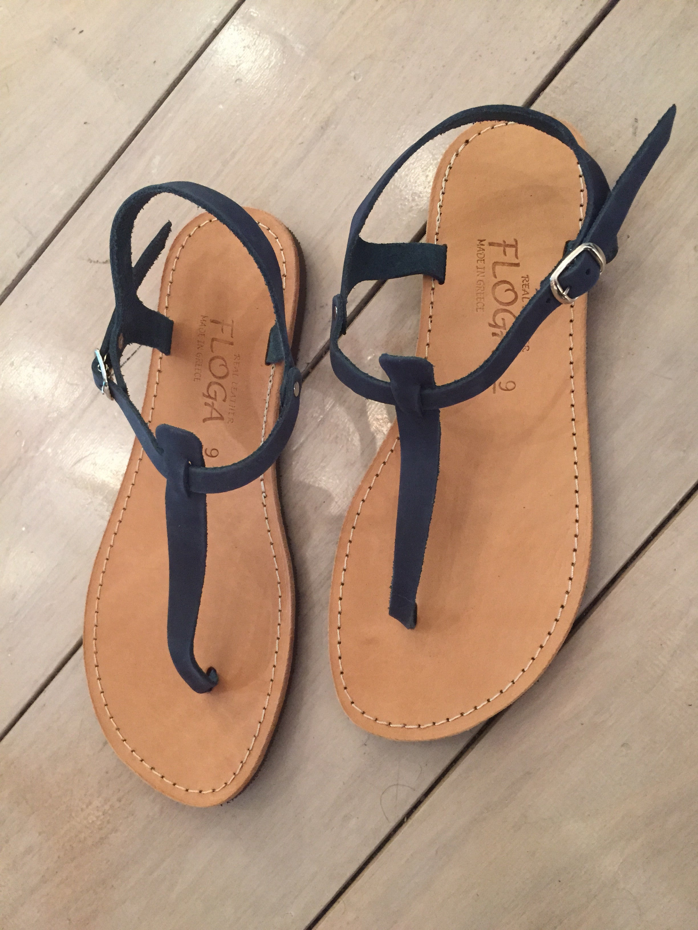 Despoina Greek Leather Sandals - Blue
