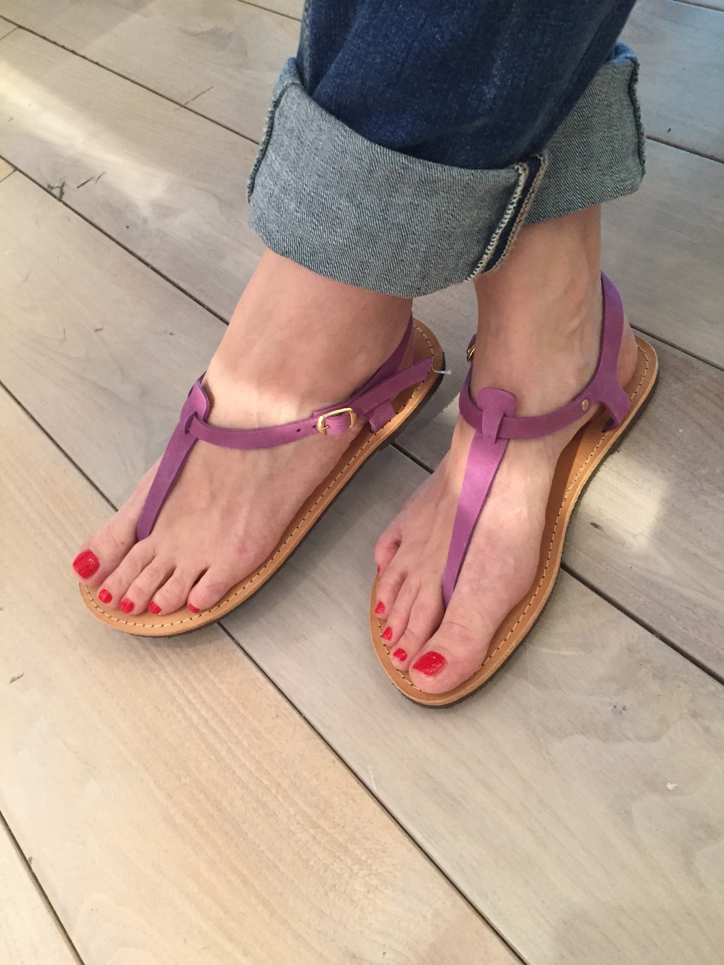 Despoina Greek Leather Sandals - Purple