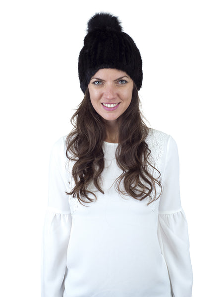 Black Mink Fur Beanie with Fox Pom Pom