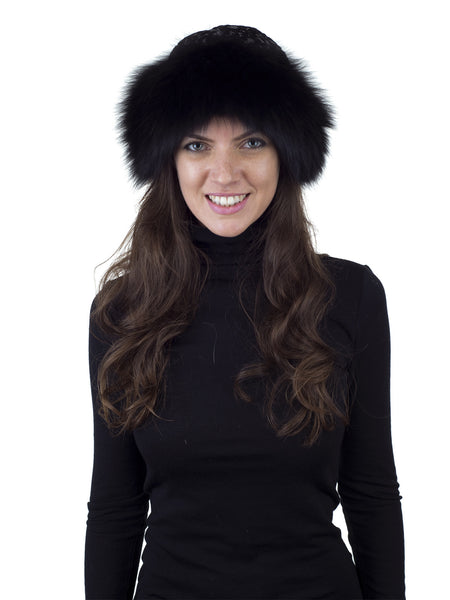 Black Fox Hat with Italian Black and Silver Fabric