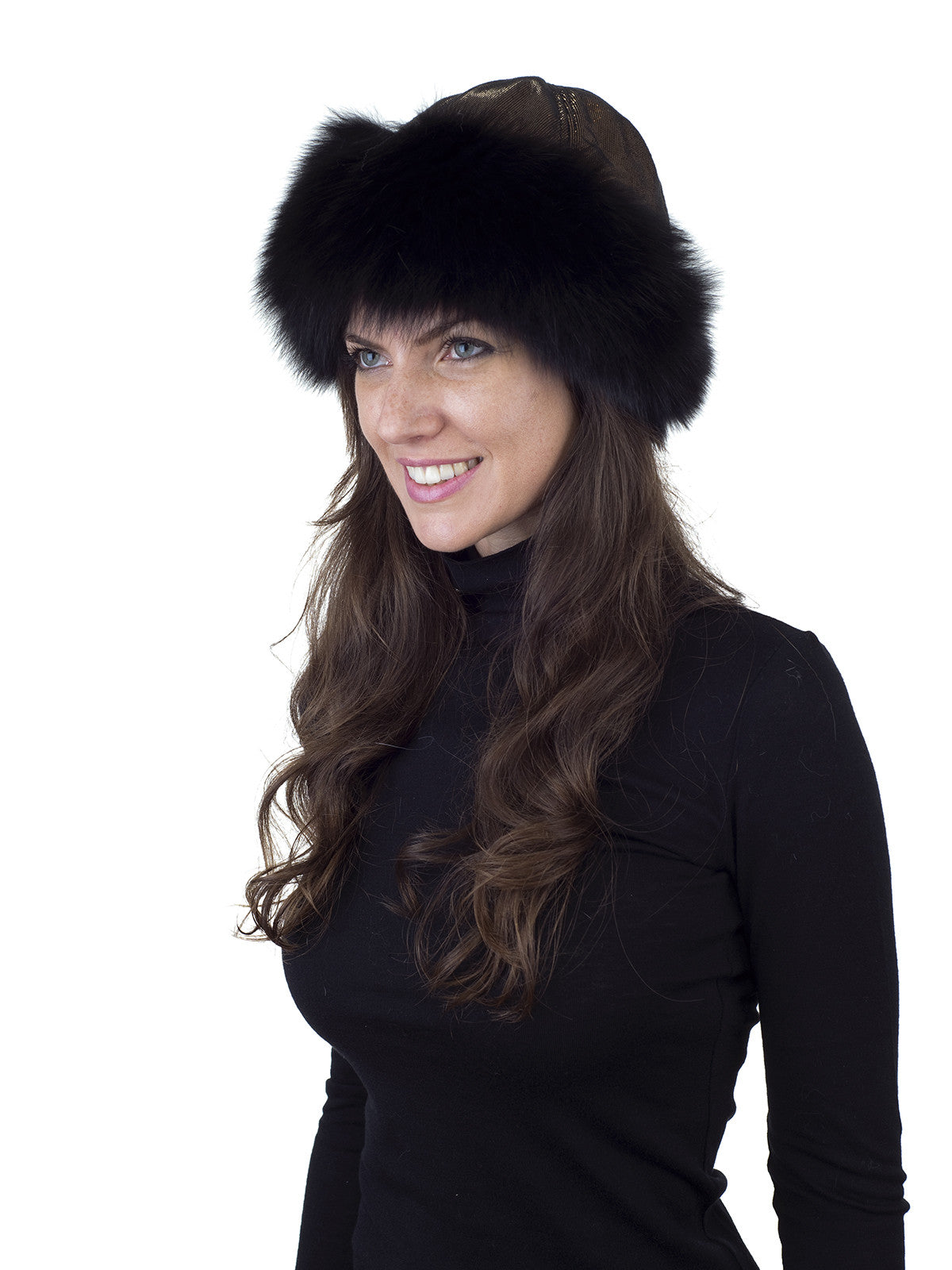 Black Fox Hat with Gold Fabric