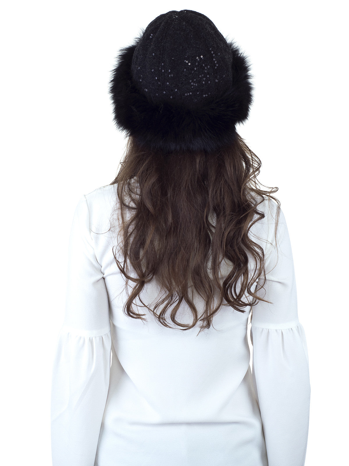 Black Fox Hat with Sequin Fabric