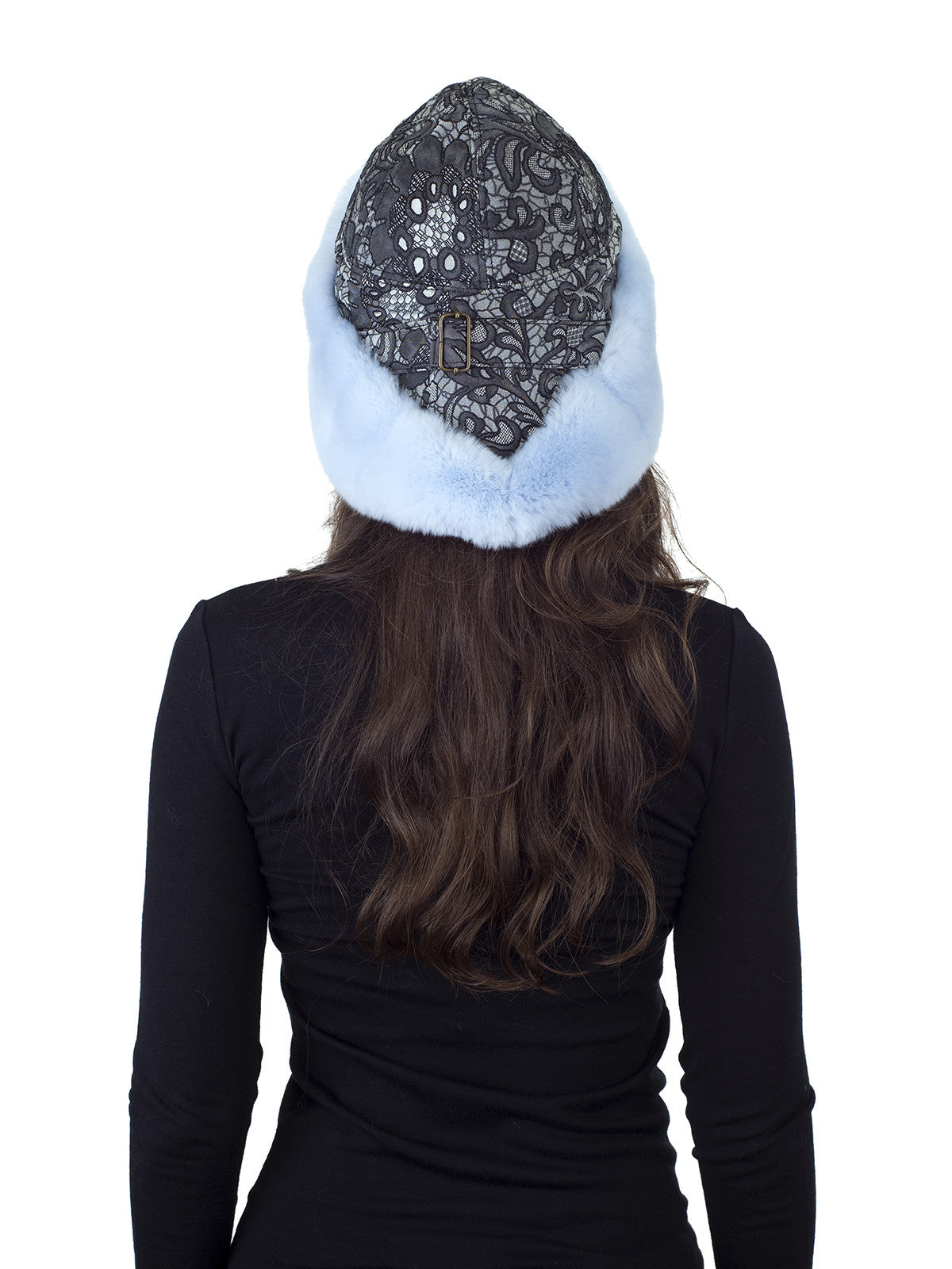 Baby Blue Rex Rabbit Hat with Black and Off White Patterned Fabric