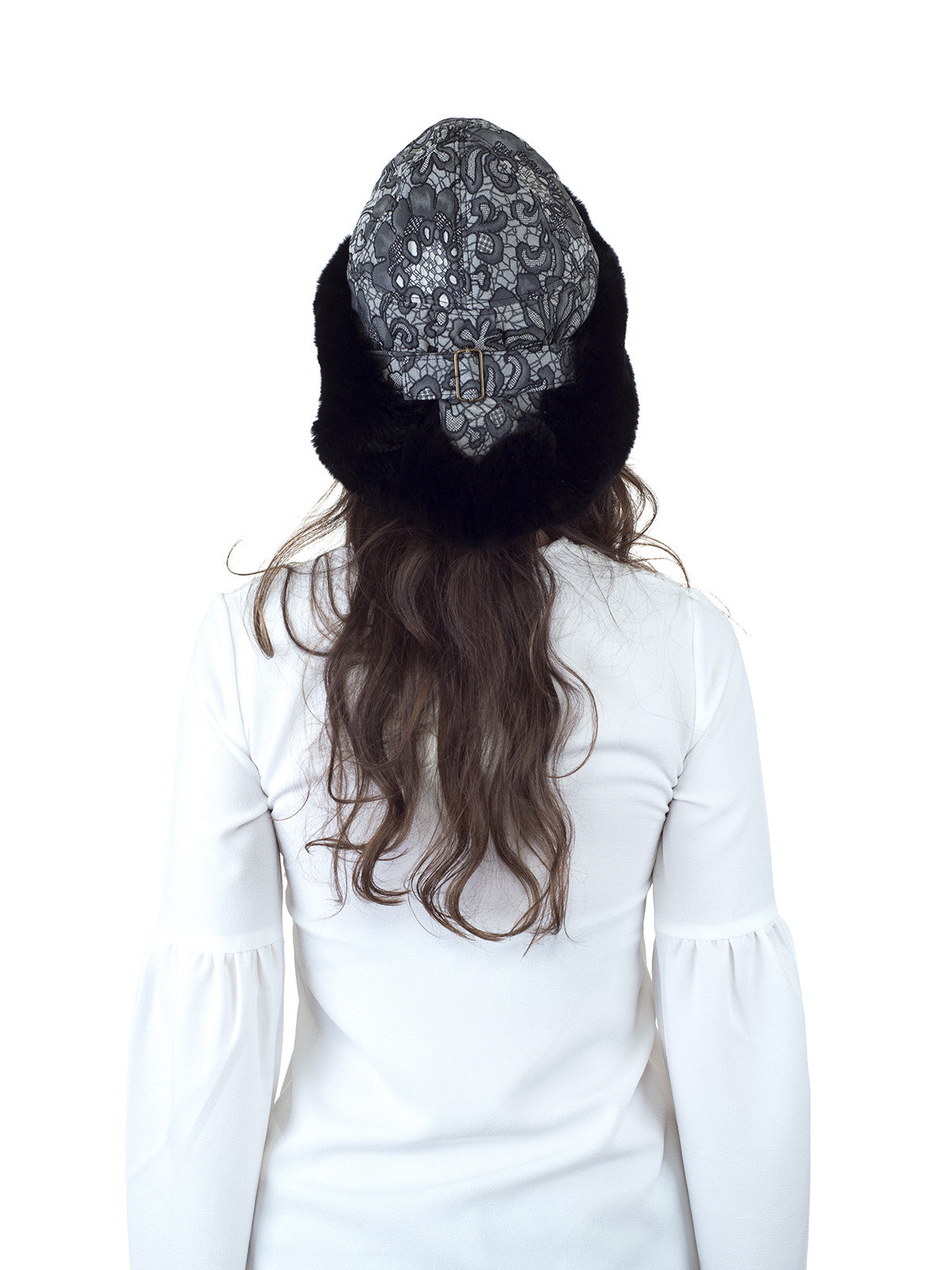 Black Rex Rabbit Hat with Black and White Italian Fabric