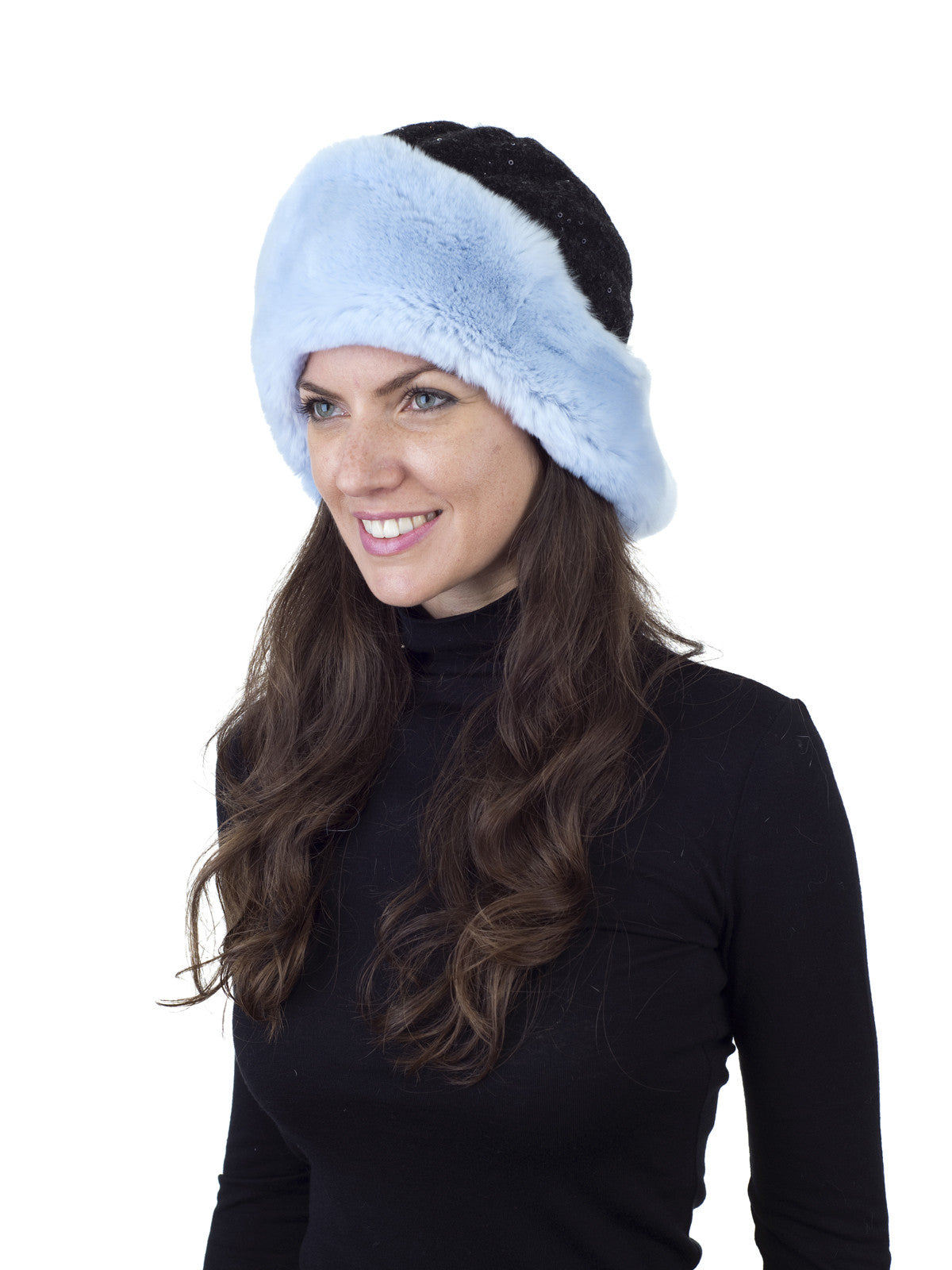 Baby Blue Rex Rabbit Hat with Sequin Fabric