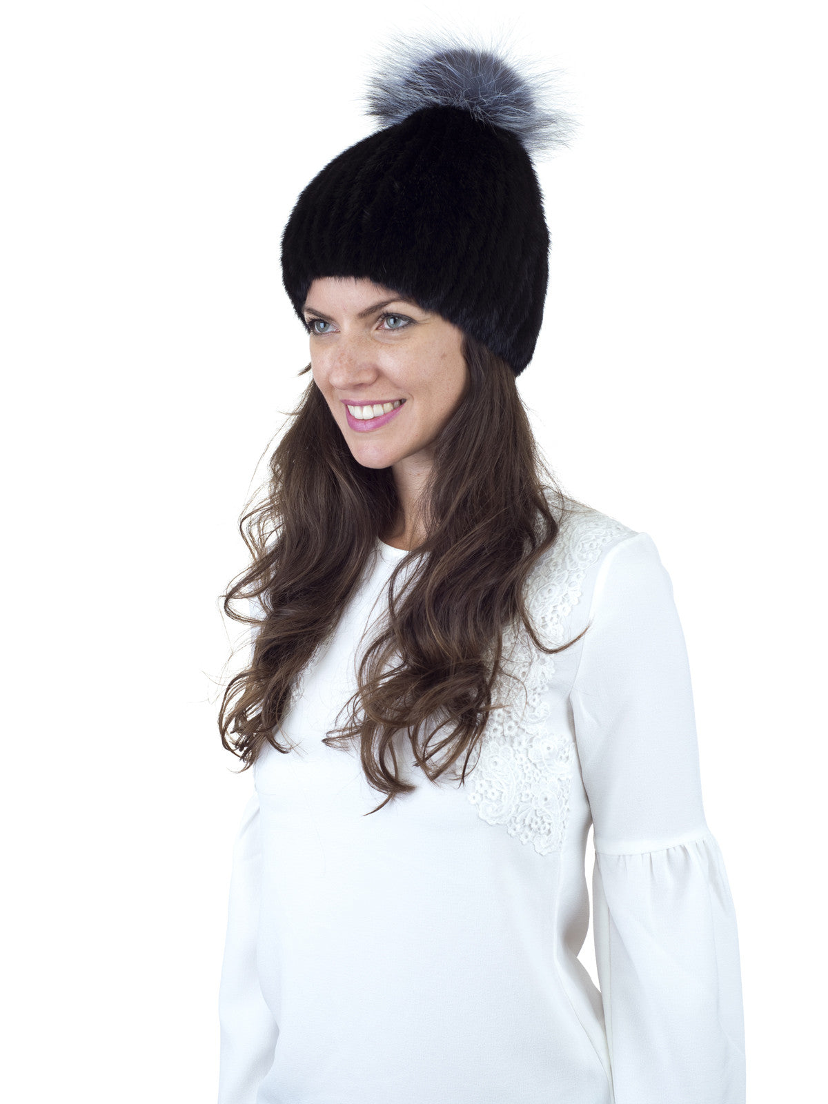 Black Mink Fur Hat with Fox Pom Pom Beanie