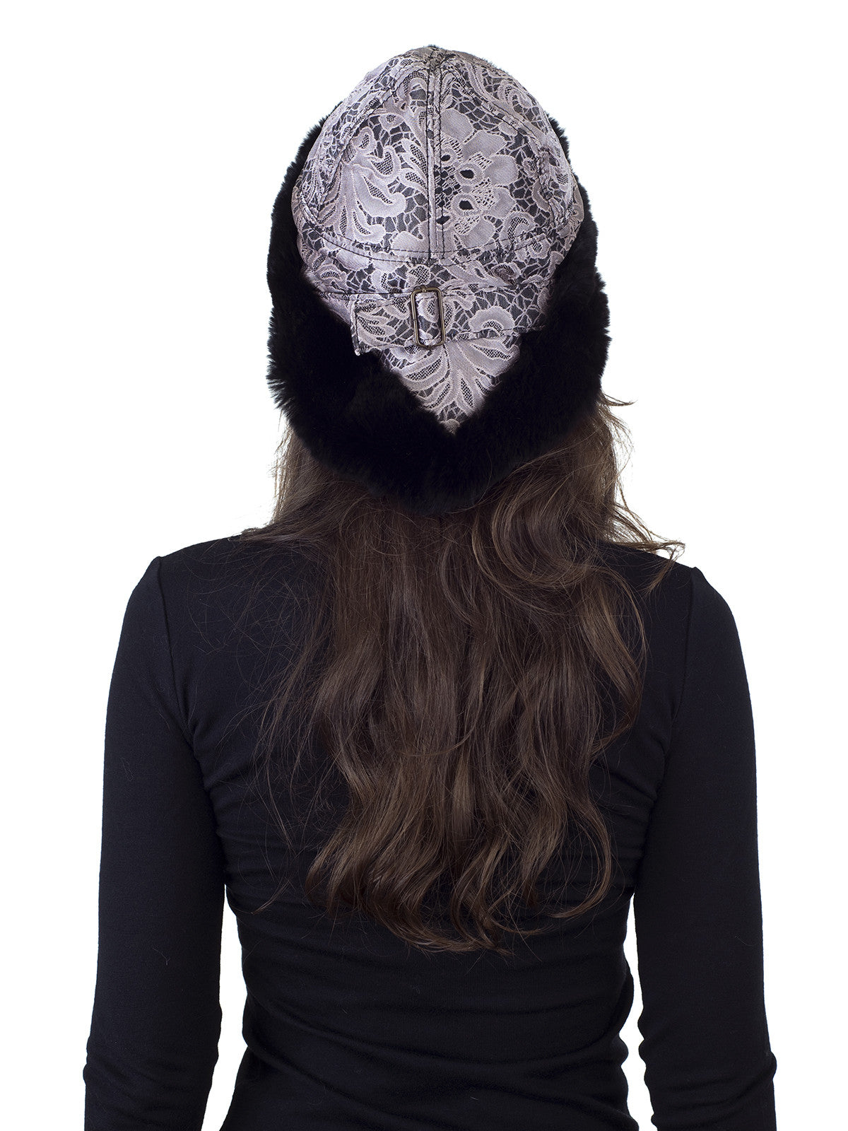Black Rex Rabbit Hat with Black and Pink Fabric