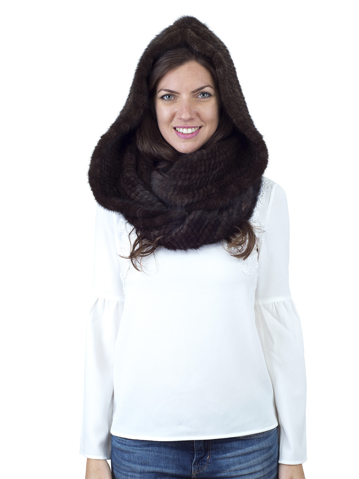 Brown Mink Hood with Wide Infinity Scarf