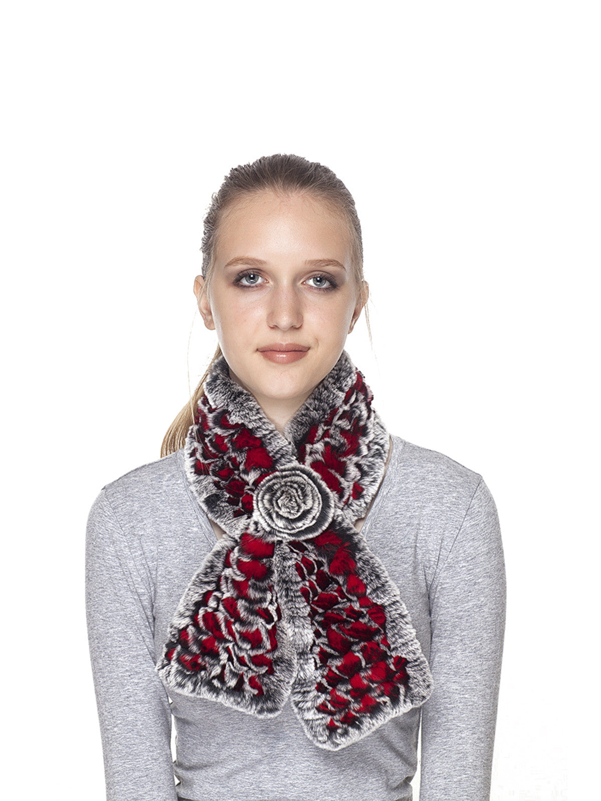 Black-Red Rex rabbit Scarf
